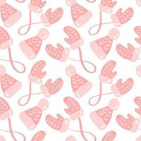 Seamless pattern of hand drawn Christmas mittens