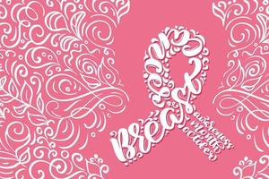 Stylized pink ribbon with breast cancer awareness calligraphy vector