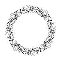 Corona de marco de boda de vector caligráfico redondo.