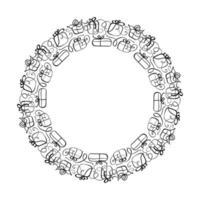 rodada grinalda de quadro de casamento de vetor caligráfico.