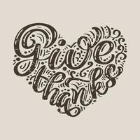 Give thanks calligraphy text vector