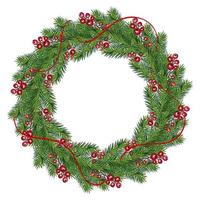 Realistic Christmas wreath with red berries