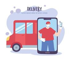 Online delivery service with courier man and smartphone