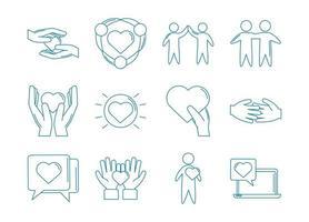 conjunto de iconos de apoyo de amor y relación