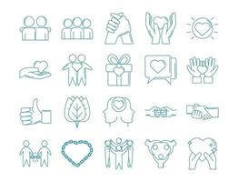 Love and relationship support icon set vector