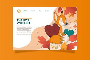 Flat Fox in Autumn Landing Page Template