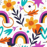 Hand drawn pattern with foliage and colorful shapes vector