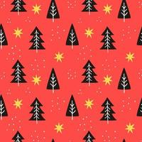 Colorful pattern with doodle tree shapes