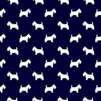Scottish terrier de patrones sin fisuras en azul marino y blanco vector