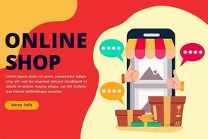 Online shop concept banner or landing page vector