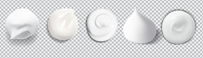 White creamy drop skincare cream foam set vector