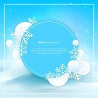 Bastidor circular de Navidad e invierno con espacio de copia