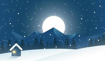 Under the Moonlight Winter Season Scene vector