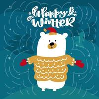 Polar bear and Happy Winter calligraphy