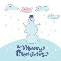 Snowman in hat with snow and clouds Christmas design