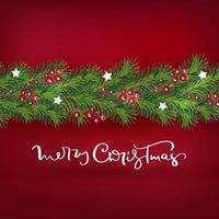 Realistic Christmas tree and berries wreath border