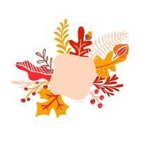 buquês de folhas de outono laranja com lugar para texto