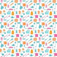 Colorful retro seamless pattern with kitchen items vector