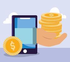 pago en línea, finanzas y composición de comercio electrónico