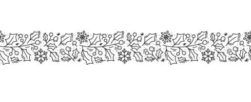 Christmas monoline scandinavian seamless pattern