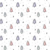 Christmas minimalist monoline Scandinavian seamless pattern
