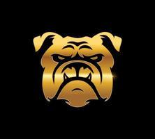 signo de bulldog dorado vector