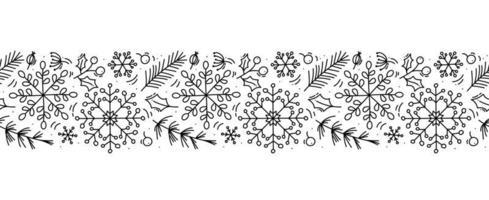 Christmas monoline scandinavian seamless pattern vector