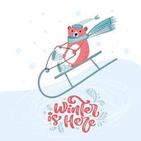 Cute bear in hat and scarf on a sled