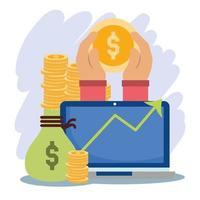 Composición de pago en línea con dinero y computadora.
