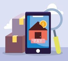 composición de pago online con aplicación para smartphone