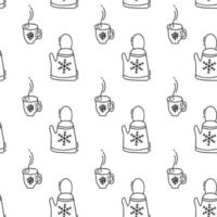 Christmas seamless pattern winter of teapots