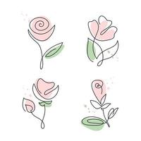 Continuous line hand drawn rose flower set vector