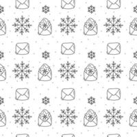 Snowflake and envelope monoline Christmas pattern