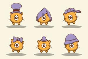 Set of cute doodle one eyed cat monsters vector
