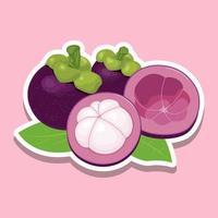 fruta fresca de mangostán de dibujos animados en rosa
