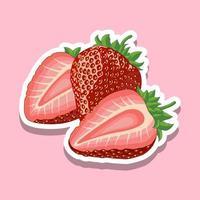 fruta fresca de fresa de dibujos animados en rosa