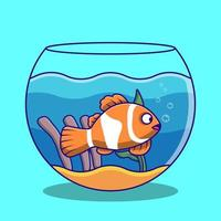Clown fish swimming in fish bowl cartoon