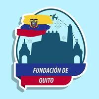 Fundacion de quito celebration design with fireworks