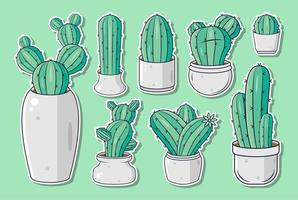 Set of cute cartoon cactus stickers or labels