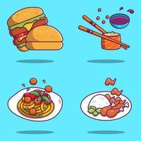 espaguetis, sushi, hamburguesas y diseños de dibujos animados de pollo frito