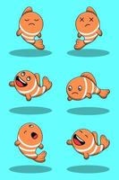 Set of cute cartoon clown fish