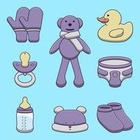 Set of cute cartoon baby items