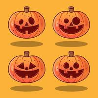 Set of cute pumpkins with beautiful carving