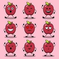 Set of cute cartoon poses of apple characters vector