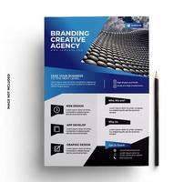 design de folheto azul em tamanho A4