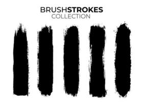 Collection of black brushstrokes vector