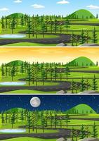 Landscape scene at different times of day