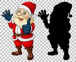 Santa cartoon character and silhouette