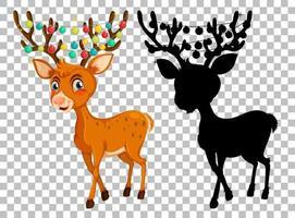 conjunto, de, navidad, ciervos, caricatura, y, silueta