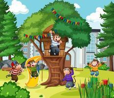 cinco monitos saltando en la escena del parque